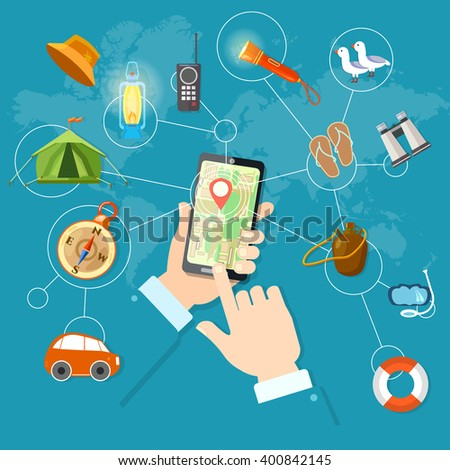 Mobile gps navigation and travel phone in hand geolocation routing mapping vector illustration - stock vector