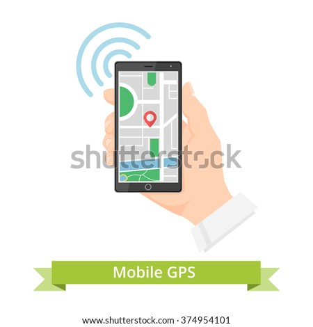 Mobile gps navigation concept. Mobile Gps Navigation with map and pin. Hand holding Mobile with Gps Navigation.  Mobile Gps Navigation vector illustration. Mobile Gps Navigation technologies concept. - stock vector