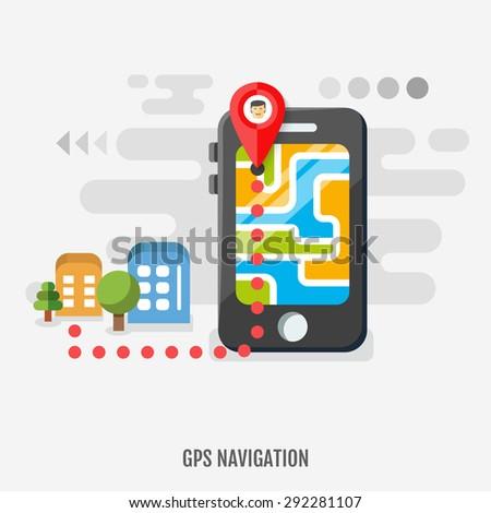 Mobile Gps Navigation On Mobile Phone Stock Vector Hd Royalty Free