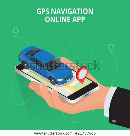 Mobile GPS navigation, travel and tourism concept. View a map on the mobile phone on car and search GPS coordinates. Flat 3d vector isometric illustration - stock vector