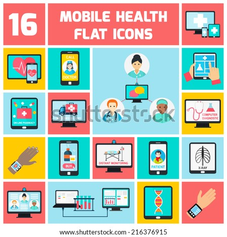 Mobile health online pharmacy computer diagnostics icons flat set isolated vector illustration - stock vector