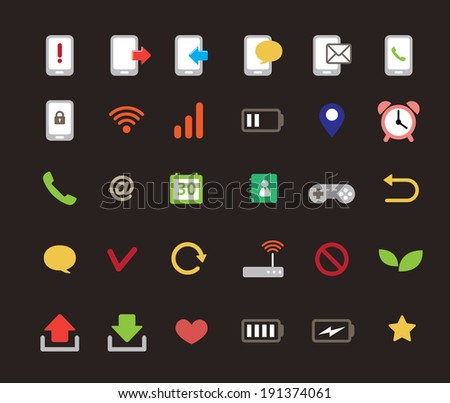 mobile icon set - simple color - stock vector