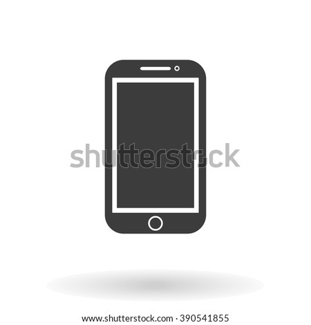 Mobile Icon Vector flat style with shadow on white background, stylish illustration - stock vector