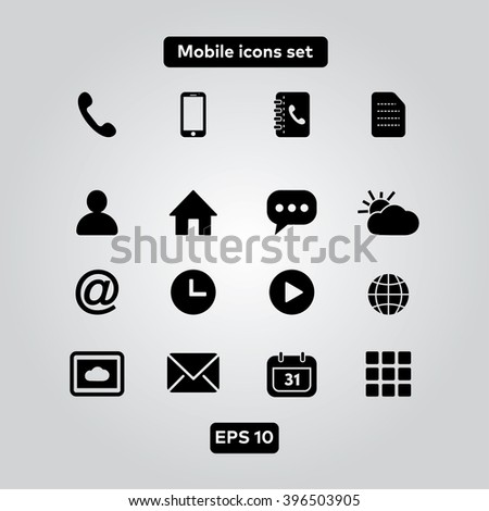Mobile icons set - stock vector