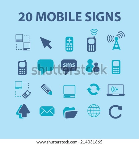 mobile icons, signs set, vector - stock vector