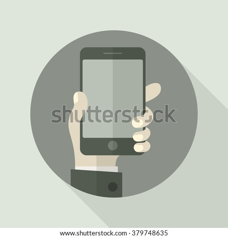 Mobile in hand on grey, business concept, vector illustration - stock vector
