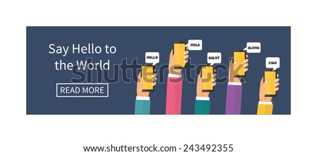 Mobile instant messenger chat, hands with smartphones and dialog bubbles. Hello in different languages. Flat design vector banner - stock vector