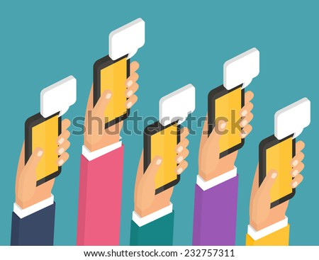 Mobile instant messenger chat, hands with smartphones and dialog bubbles. Isometric 3d Flat design vector illustration - stock vector
