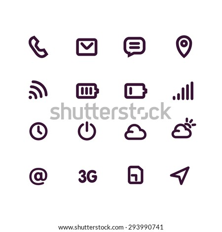 Mobile interface and apps line icon set. White vector background