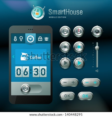 Mobile interface and elements for smart house system. - stock vector