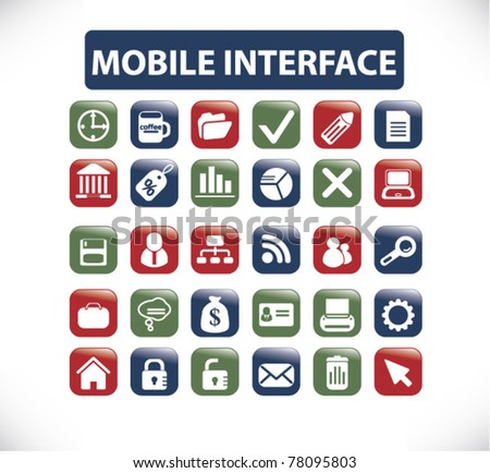 mobile interface icons, signs, vector - stock vector