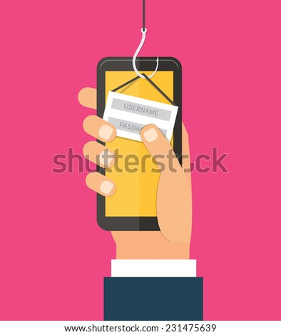 Mobile Internet Phishing, hacking login and password, internet security concept. Flat design vector - stock vector