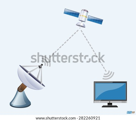 Mobile, Internet, Television or Satellite Communication Network - Illustration - stock vector