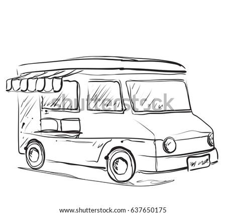 Monochrome Sketch Food Truck