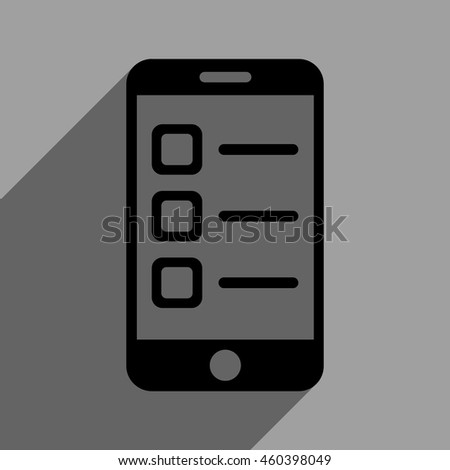 Mobile List long shadow vector icon. Style is a flat mobile list black iconic symbol on a gray square background with longshadow. - stock vector