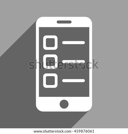 Mobile List long shadow vector icon. Style is a flat mobile list white iconic symbol on a gray square background. - stock vector