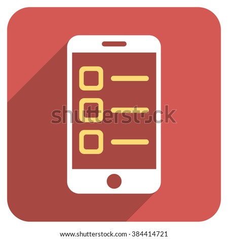 Mobile List long shadow vector icon. Style is a flat symbol on a red rounded square button. - stock vector