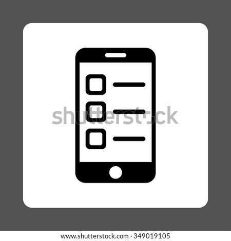 Mobile List vector icon. Style is flat rounded square button, black and white colors, gray background. - stock vector