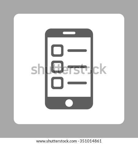 Mobile List vector icon. Style is flat rounded square button, dark gray and white colors, silver background. - stock vector