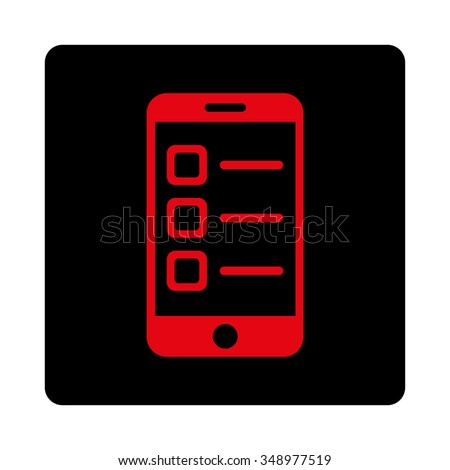 Mobile List vector icon. Style is flat rounded square button, intensive red and black colors, white background. - stock vector