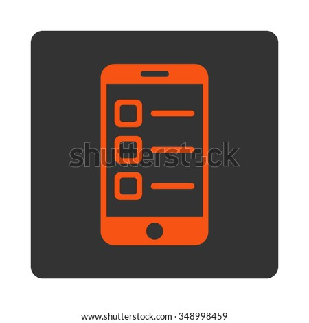 Mobile List vector icon. Style is flat rounded square button, orange and gray colors, white background. - stock vector