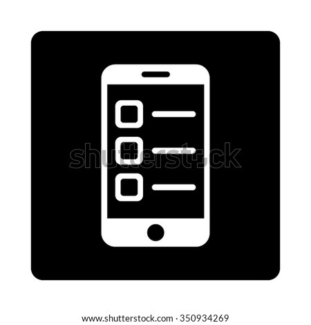 Mobile List vector icon. Style is flat rounded square button, white and black colors, white background. - stock vector