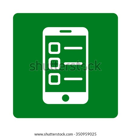Mobile List vector icon. Style is flat rounded square button, white and green colors, white background. - stock vector