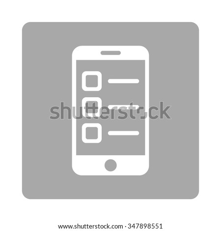 Mobile List vector icon. Style is flat rounded square button, white and silver colors, white background. - stock vector