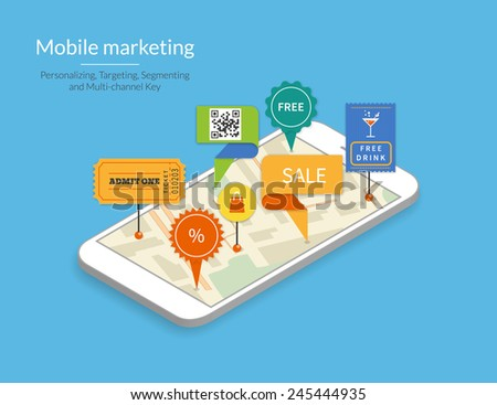 Mobile marketing and personalizing. Smartphone with map and tags. Text outlined, free font Lato - stock vector