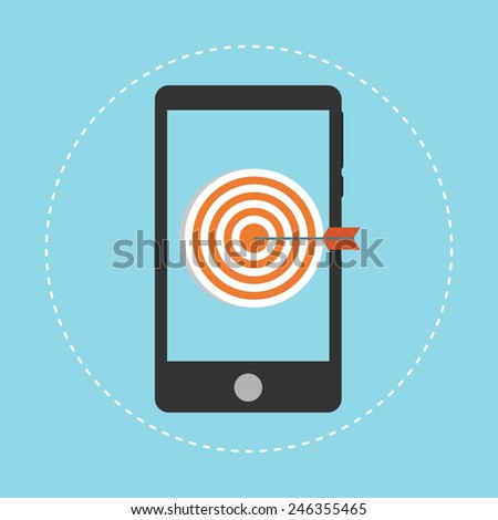 Mobile marketing and targeting. Smartphone with dartboard in the screen. - stock vector