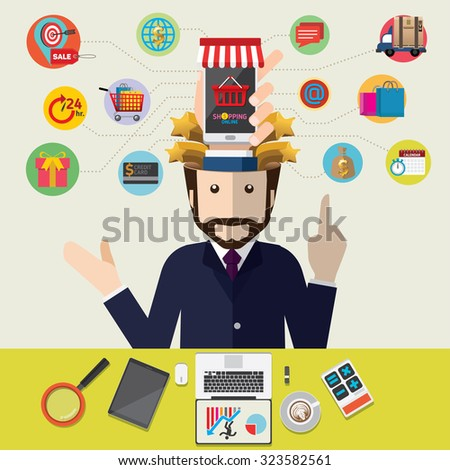 Mobile marketing concept idea with flat icons. Vector illustration. Set of flat design concept icons for online shopping.  - stock vector