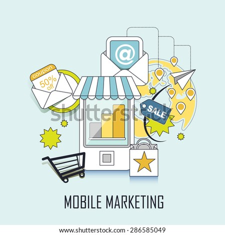 mobile marketing concept: shopping related elements in line style - stock vector