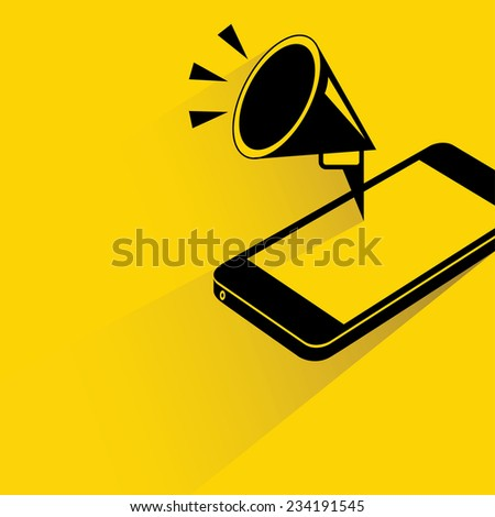 mobile marketing concept, smart phone with pop up megaphone, mobile advertising - stock vector