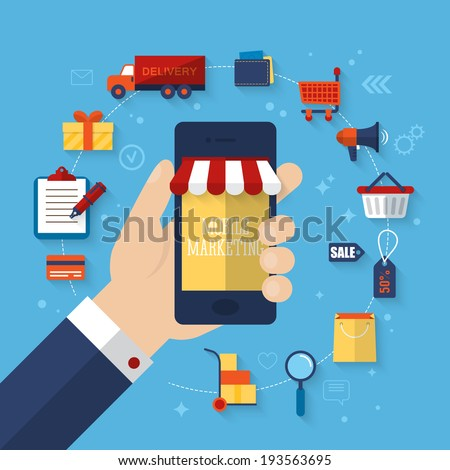 Mobile marketing concept with flat icons. Vector illustration - stock vector