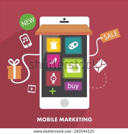 Mobile Marketing in Flat design - stock vector
