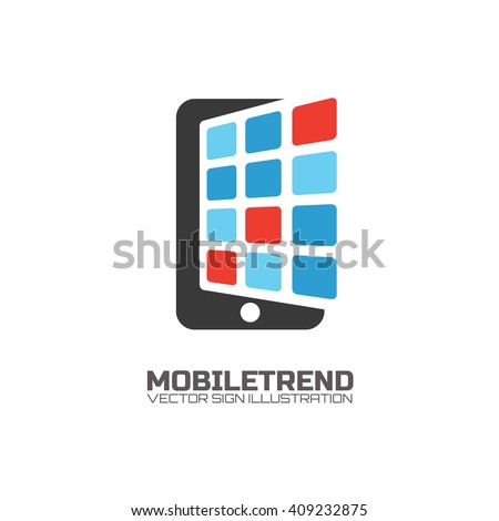 Mobile marketing, mobile and technology store, smartphone manufacturing company, apps store creative logo concept.  - stock vector