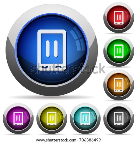 Mobile media pause icons in round glossy buttons with steel frames