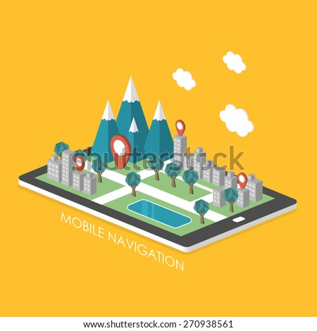 mobile navigation concept 3d isometric infographic with city scene showed up from tablet - stock vector