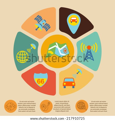 Mobile navigation geolocation routing mapping infographics set with pie chart vector illustration - stock vector