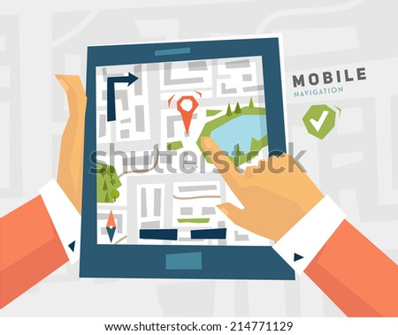Mobile Navigation. GPS Technology. Tablet PC with Map. - stock vector