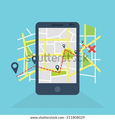 Mobile navigation GPS with map pointers / GPS navigation in smartphopne - stock vector