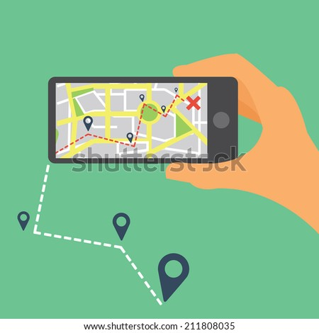 Mobile navigation GPS with map pointers / Responsive icon with map pointers - stock vector