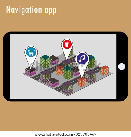 Mobile navigation GPS with map pointers . Responsive icon with map pointers. Vector  - stock vector