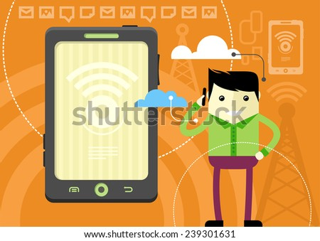 Mobile network concept. Happy man holding phone in his hand near head and talking flat cartoon design style. - stock vector