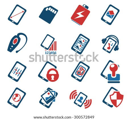 Mobile or cell phone, smartphone,  specifications and functions icons set - stock vector