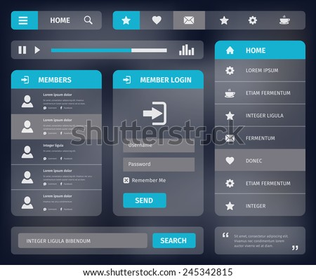 Mobile or web user interface template design.  Vector eps10 illustration. Member login, horizontal and vertical navigation, search button, icons. - stock vector