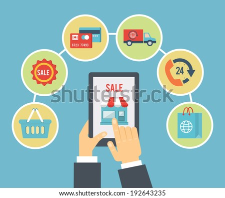 Mobile order and payment, Internet shopping concept in flat style - stock vector