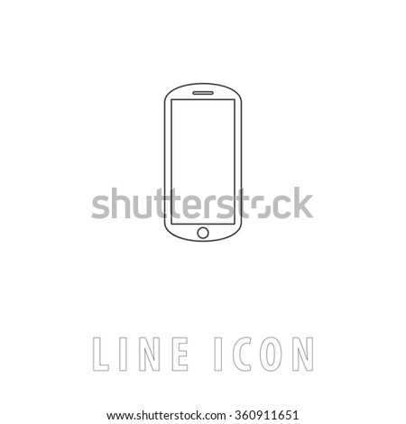 mobile Outline simple vector icon on white background. Line pictogram with text  - stock vector