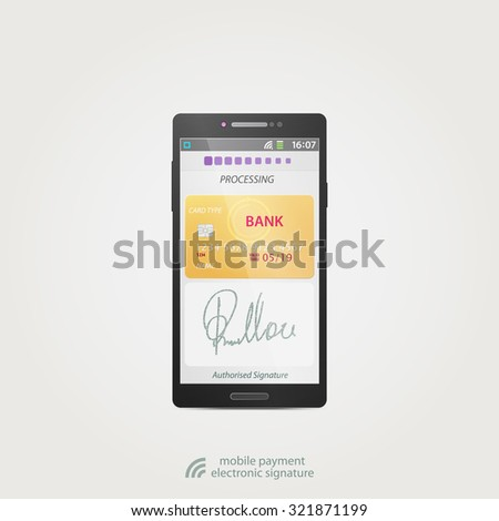 mobile payment and electronic signature concept with credit card and safe smartphone application. vector business design technology icons - stock vector