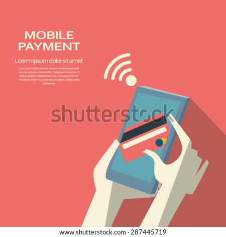 Mobile payment concept. Smartphone wireless money transfer. Abstract flat design. Eps10 vector illustration. - stock vector